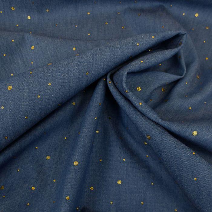 Tissu chambray dots glitter or - bleu x 10 cm