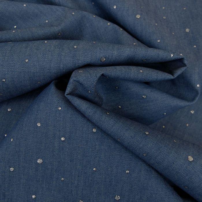 Tissu chambray dots glitter argent - bleu x 10 cm