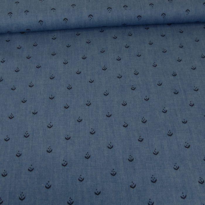 Tissu chambray épis - bleu x 10 cm