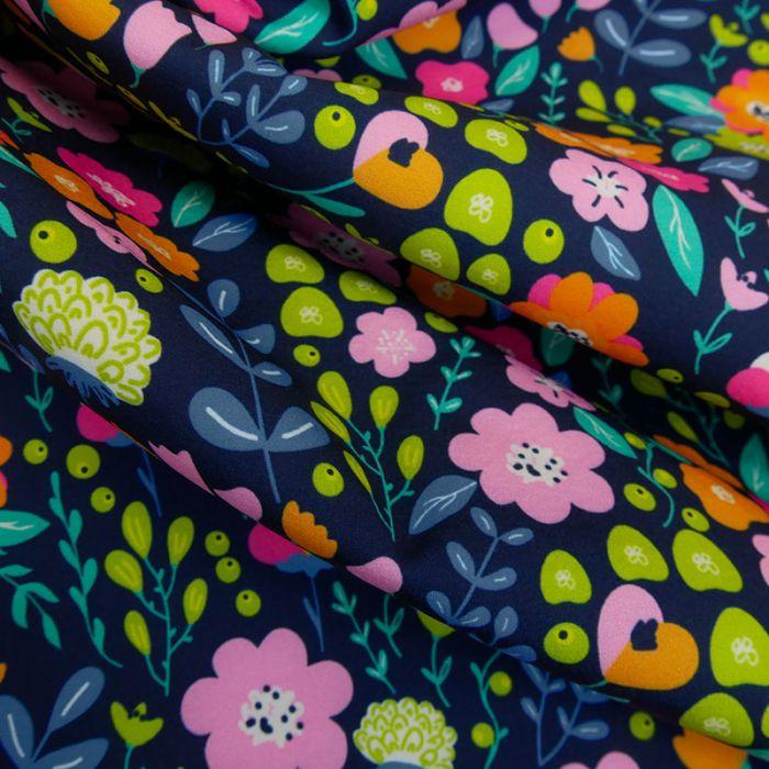 Tissu softshell déperlant fleurs - marine x 10 cm