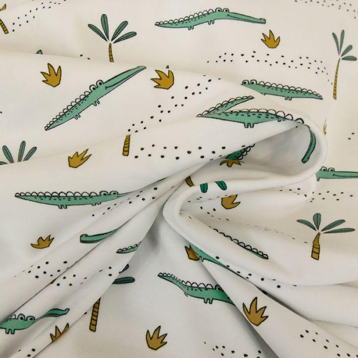 Tissu jersey bio crocodiles - blanc x 10 cm