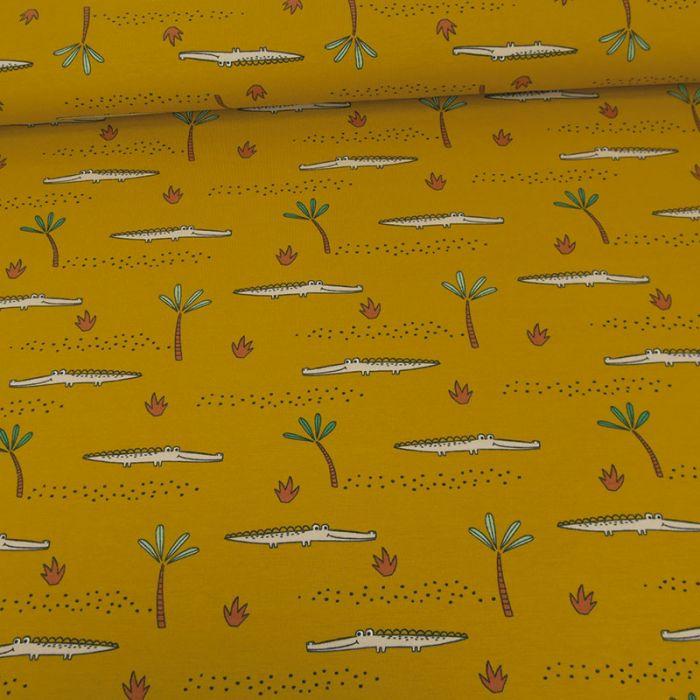Tissu jersey bio crocodiles - moutarde x 10 cm
