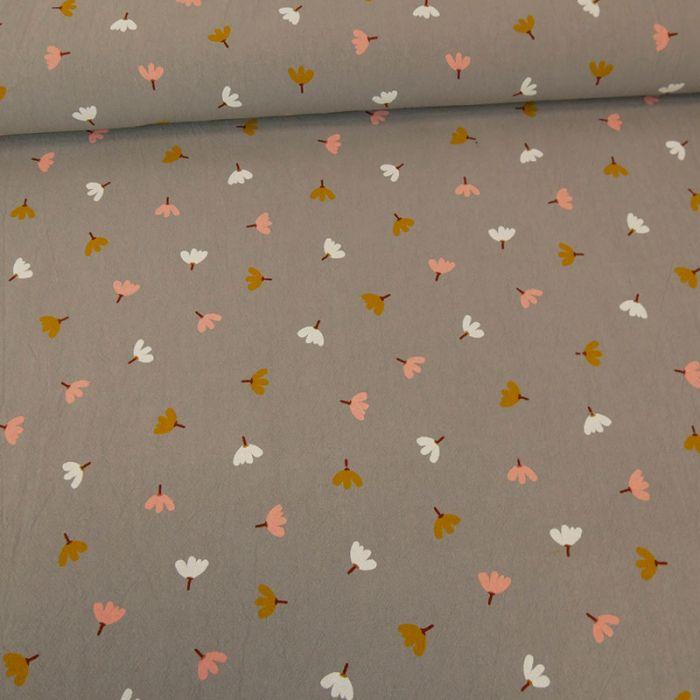 Coupon tissu coton lavé freesias gris - 70 X 135 cm
