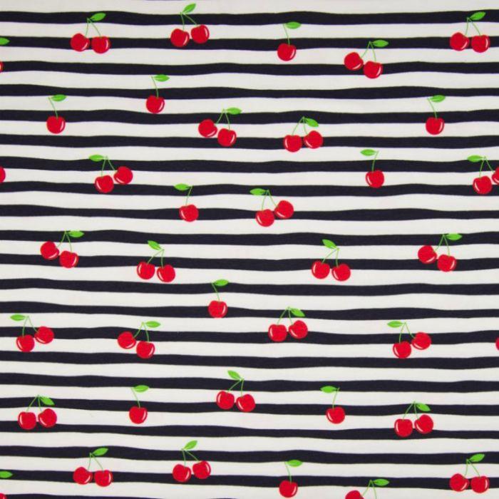Tissu jersey marinière cerises - marine x 10 cm