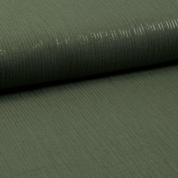 Tissu double gaze rayures lurex - kaki x 10 cm
