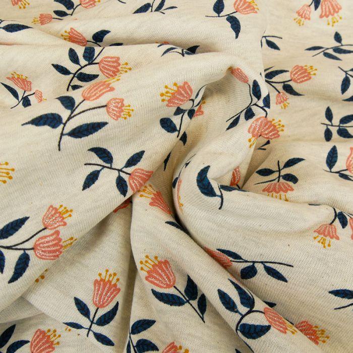 Tissu molleton sweat tulipes glitter - écru chiné x 10 cm