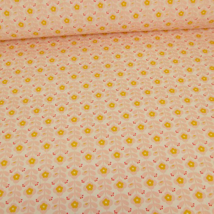 Tissu coton enduit fleurs vintage - rose x 10 cm