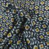 Tissu coton enduit fleurs vintage - bleu x 10 cm