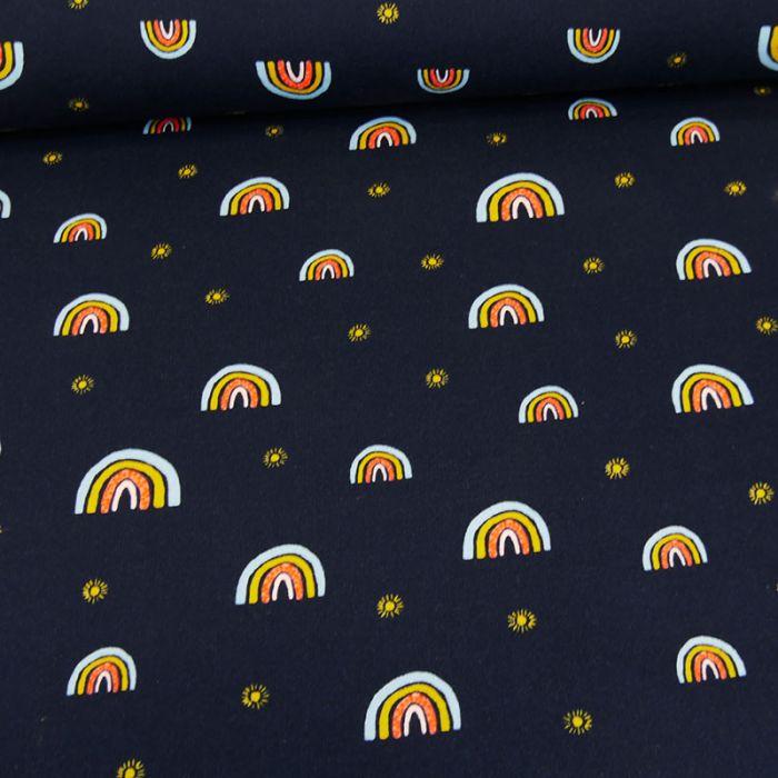 Tissu jersey bio sweat léger arc-en-ciel - navy x 10 cm