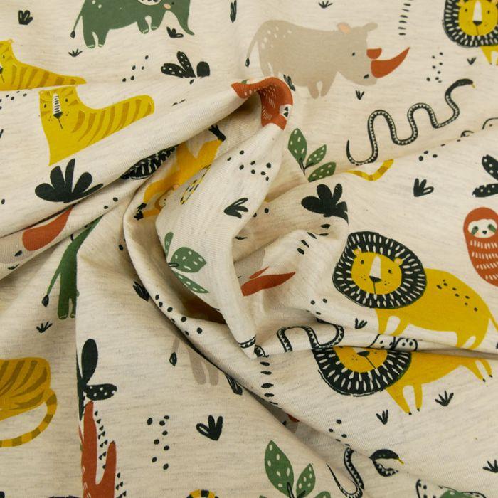 Tissu jersey fin savane - écru x 10 cm