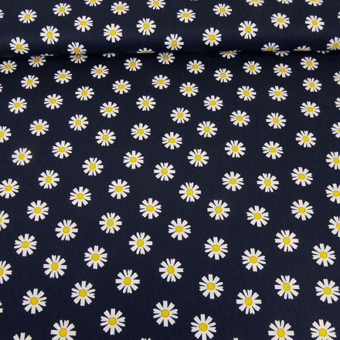Tissu popeline coton pâquerettes - marine x 10 cm