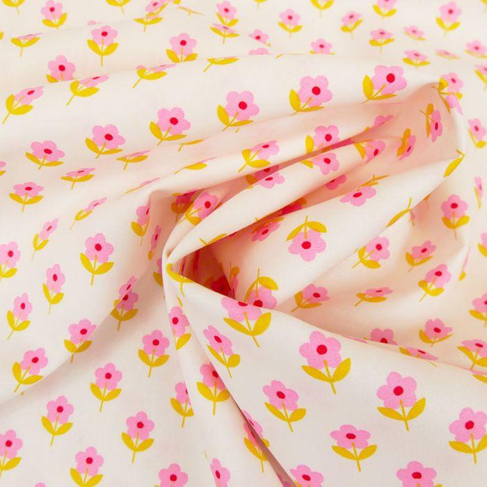 Tissu popeline coton fleurs cosmos - blanc x 10 cm