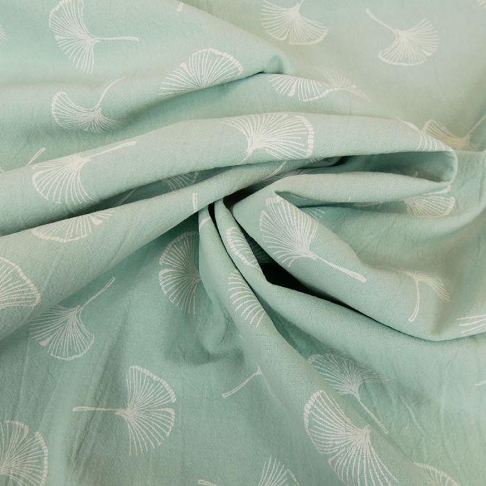 Tissu coton lavé feuilles Ginkgo - mint x 10 cm