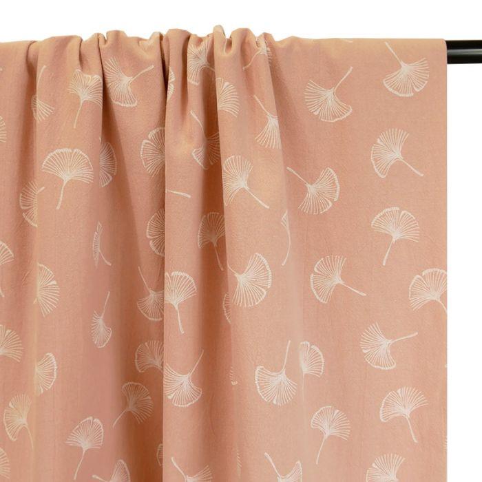 Tissu coton lavé feuilles Ginkgo - rose x 10 cm