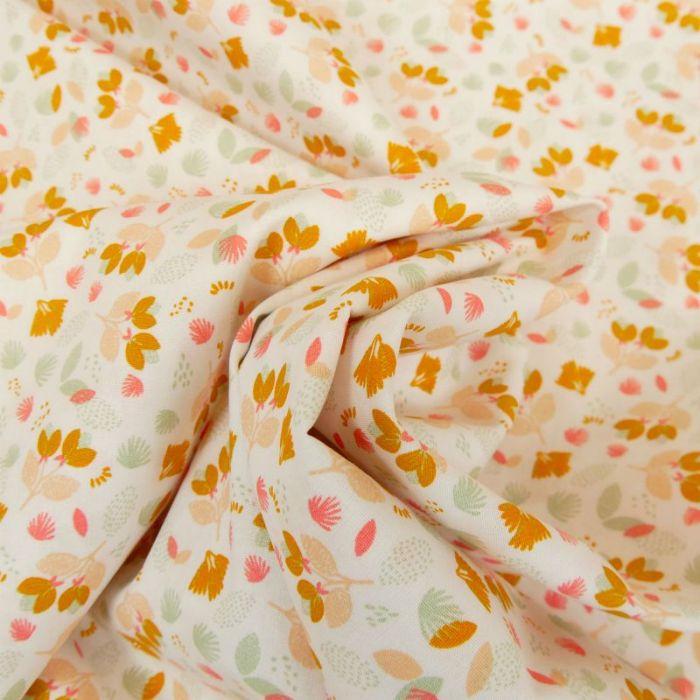 Tissu popeline coton Suzannes orange - blanc x 10 cm