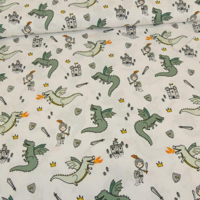 Tissu popeline coton dragons - blanc x 10 cm