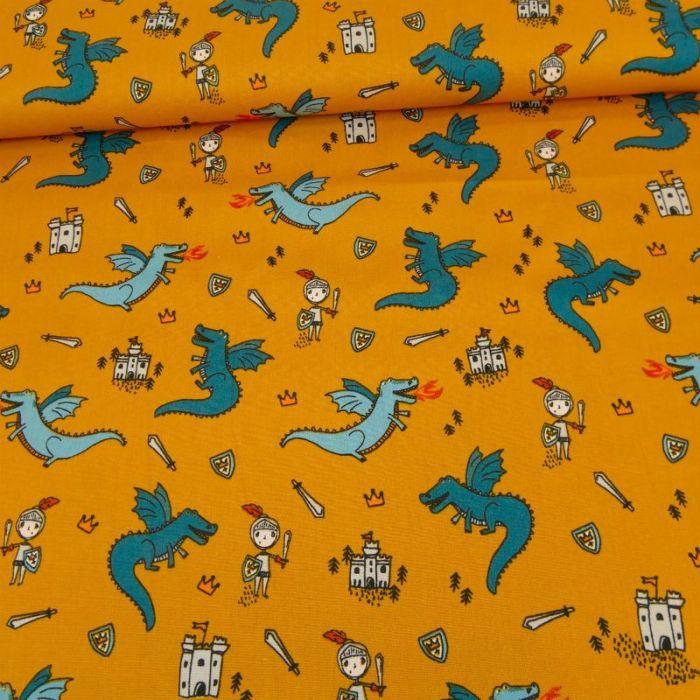 Tissu popeline coton dragons - moutarde x 10 cm