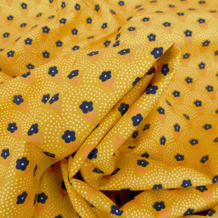 Tissu popeline coton adonis - jaune x 10 cm