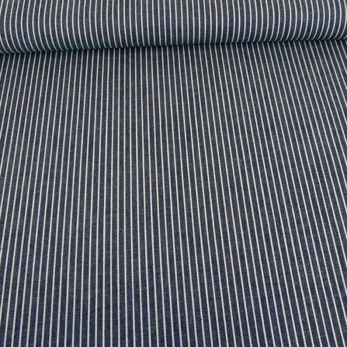 Tissu chambray rayures - bleu foncé x 10 cm