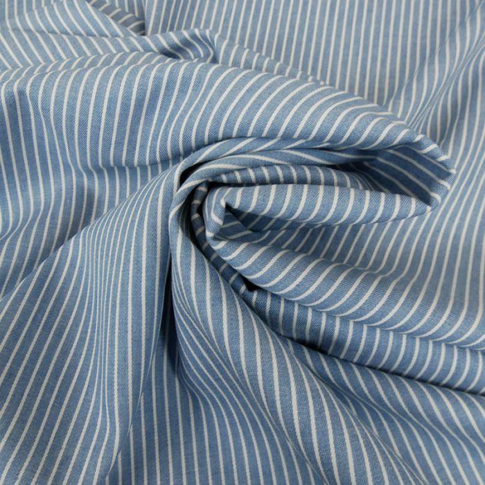 Tissu chambray rayures - bleu clair x 10 cm