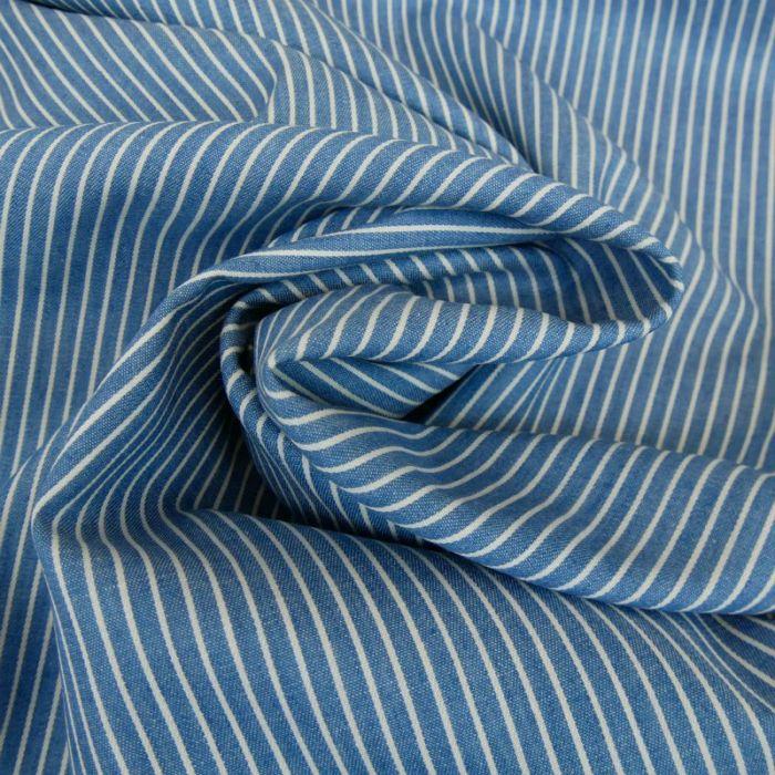 Tissu chambray rayures - bleu x 10 cm