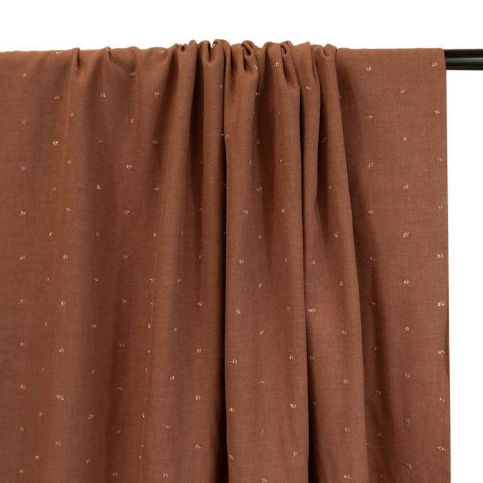 Tissu sergé viscose pois lurex cuivré - terracotta x 10 cm