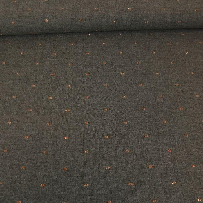 Tissu sergé viscose pois lurex cuivré - gris x 10 cm