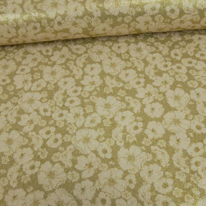 Tissu soie lamé fleurs - doré x 10 cm