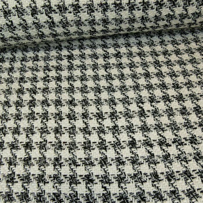 Tissu tweed pied de coq lurex noir blanc x 10 cm