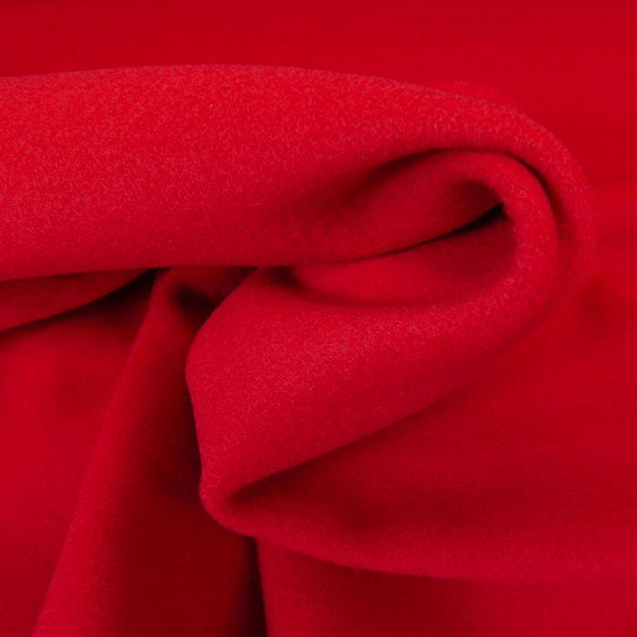 Tissu lainage cachemire rouge - haute couture x 10 cm