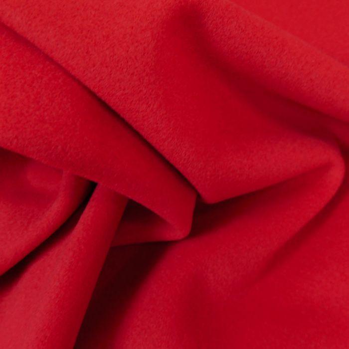 Tissu laine et cachemire rouge - haute couture x 10 cm