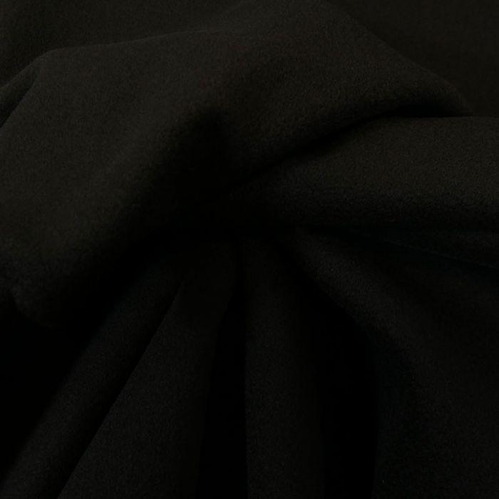 Tissu laine et cachemire noir - haute couture x 10 cm
