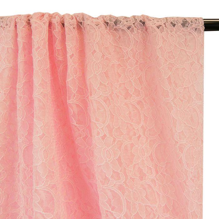 Tissu dentelle haute couture fleurs - rose x 10 cm