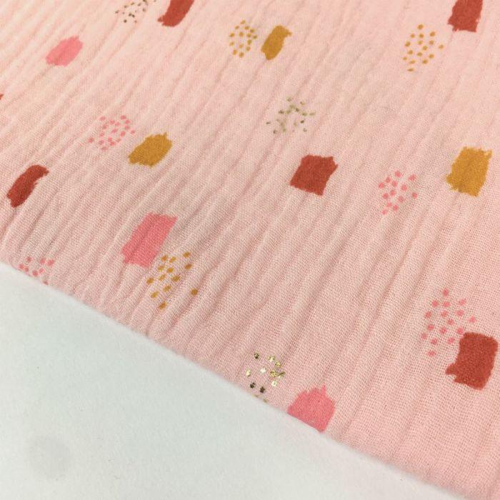 Tissu double gaze géométriques glitter - rose x 10cm