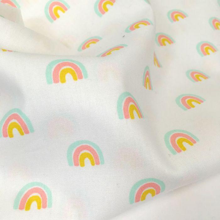 Tissu popeline coton arc-en-ciel - blanc x 10 cm