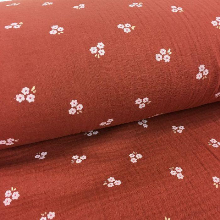 Tissu double gaze fleurs sakura glitter - terracotta x 10cm