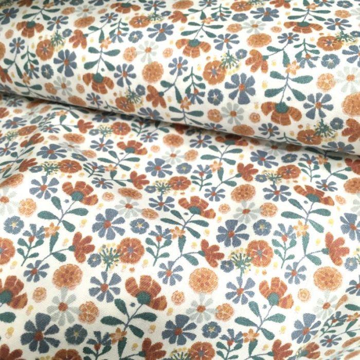 Tissu popeline coton bio fleurs Julie - écru x 10 cm
