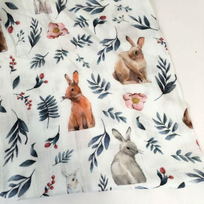 Tissu double gaze imprimé lapins - blanc x 10cm