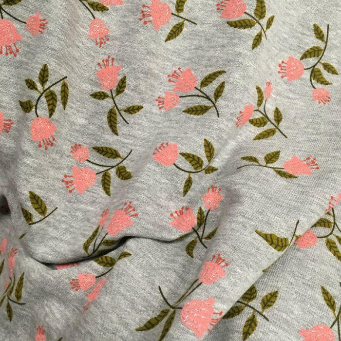 Tissu molleton sweat tulipes glitter - gris chiné x 10 cm