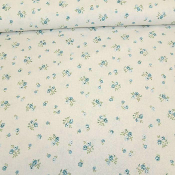 Tissu cotonnade roses bleues - blanc cassé x 10 cm