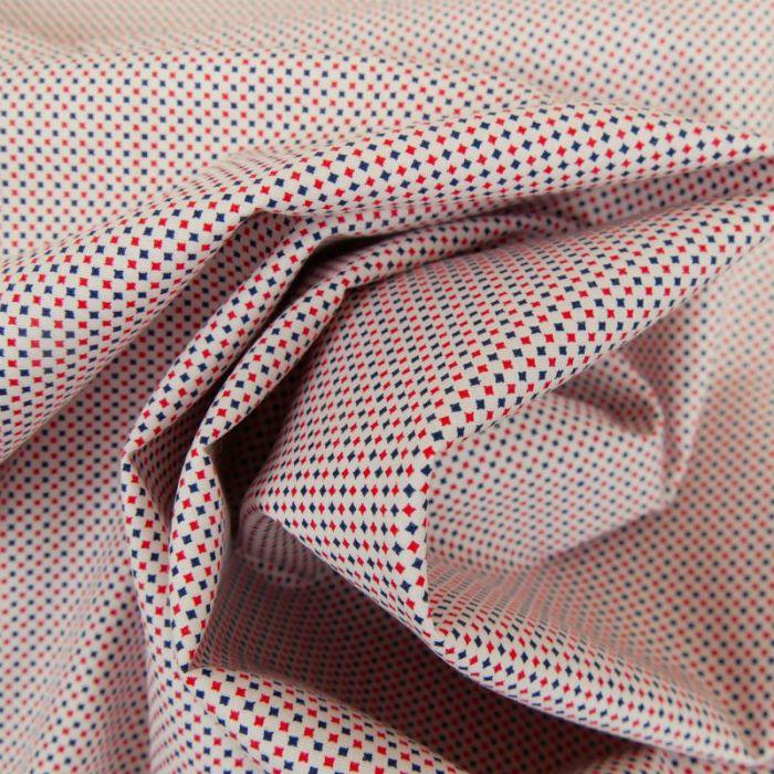 Tissu popeline de coton pointillisme rouge bleu x 10 cm