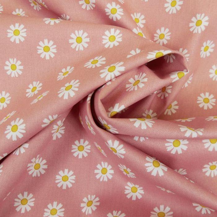 Tissu popeline coton pâquerettes - vieux rose x 10 cm