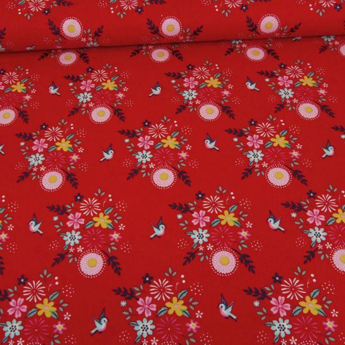 Tissu popeline coton Fiona Hewitt hirondelles - rouge x 10 cm