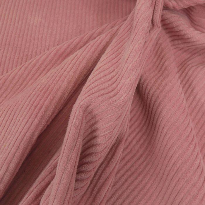 Tissu velours côtelé - rose x 10 cm