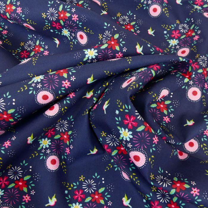 Tissu popeline coton Fiona Hewitt hirondelles - bleu x 10 cm