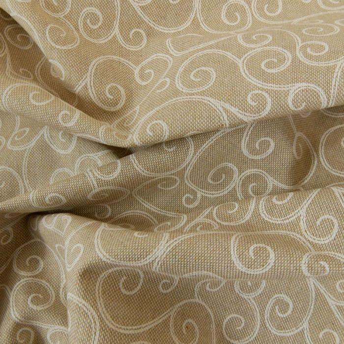 Tissu coton effet lin tourbillon - beige x 10 cm