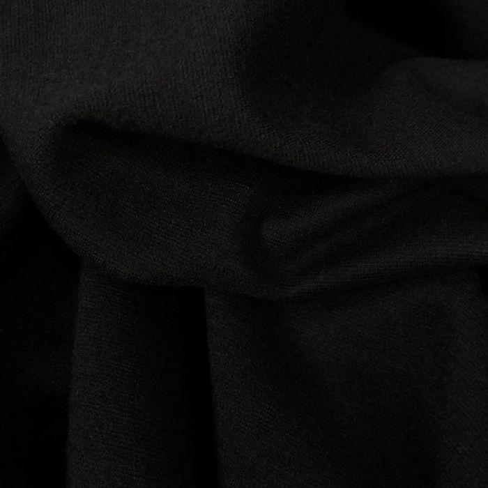 Tissu laine interlock noir - haute couture x 10 cm
