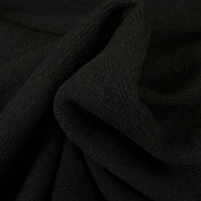Tissu lainage bouclettes noir - haute couture x 10 cm