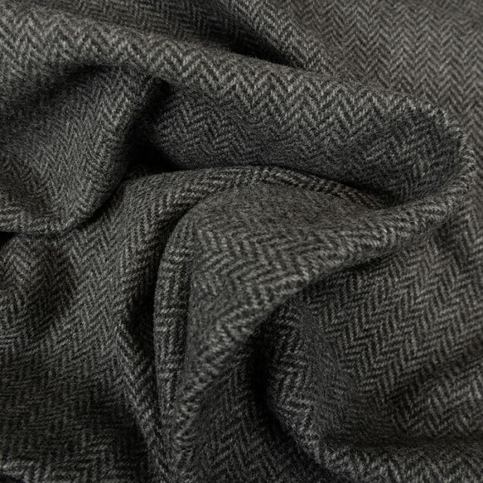 Tissu drap de laine chevrons gris - haute couture x 10 cm