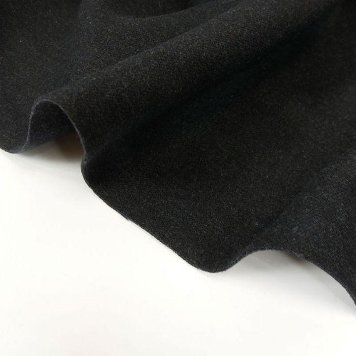 Tissu drap de laine bleu nuit chiné - haute couture x 10 cm